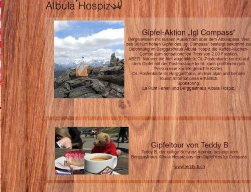 Juni 2017: Hotels und Berghäuser teilen Teddy B's Abenteuer