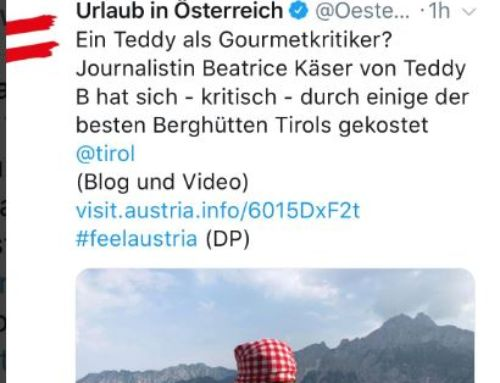 Österreich twittert (AUT): Teddy B zu Besuch im Tirol